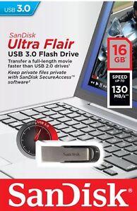 SanDisk Ultra Flair 16/32/64 GB USB 3.0 Flash Drive High Speed Memory Stick-UK