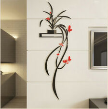 3D Acrylic Red Orchid Flower Wall Sticker Self-adhesion Home Decor Living Room