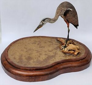 Signed ML Carey (DE) 1988 Small Hand Carved Great Blue Heron Wood Decoy in Pond