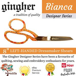 """Gingher Left Handed Dressmaking Shears 8"""" Knife-Edge Designer's Series Bianca"""