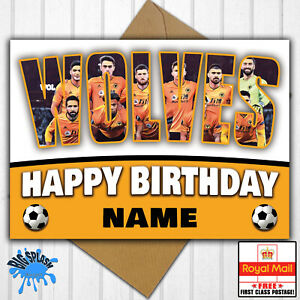 Wolves Personalised Birthday Card Any Name/Relative/Age 30th 40th 50th etc