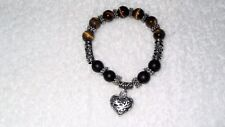 Black Lava Rock Tigers Eye Stone Heart Beaded Stretch Bangle Jewelry Bracelet