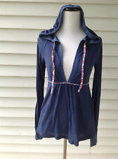 """NWHT$68 """"Free People"""" Blue V-Neck Long Sleeve Shirt /Top with a Hood Size S"""
