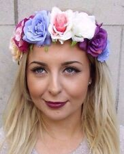 Pink Purple White Rose Flower Garland Headband Hair Crown Festival Boho 2959