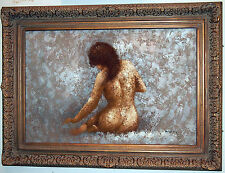 NUDE LARGE OIL PAINTING RARE VIEW SITTING GIRL  GORGEOUS DETAILS BY :BARTON