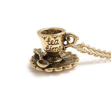 Alice in wonderland  teacup necklace TEA TIME cup gold party drink me mad hatter