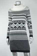 TOMMY HILFIGER New Womens White Printed Cowl Neck Sweater Dress MSRP $119 S