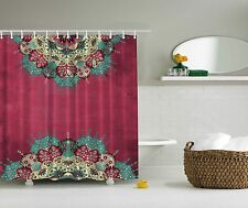 Pink Teal Blue Green Paisley Artwork Shower Curtain Digital Art Bathroom