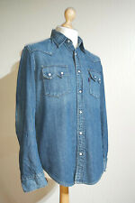 Levi's Red Tab Chambray Denim White Snap Western Shirt Size M Blue Western Look