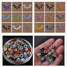 Charms 10pcs Large Hole Crystal Rhinestone Rondelle Spacer Beads Fit European