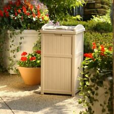 Resin Outdoor Trash Can with Lid Garbage Waste Bin Patio Deck 33 Gallon 2 Colors