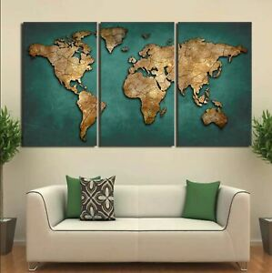 World Map Continent Vintage HD 3 Piece Canvas Wall Art Print Poster Home Decor