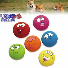 6X Expressions Pet Chew Toys Pet Dog Puppy Play Squeaky Ball With Face Fetch Toy