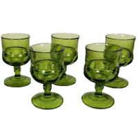 Set Of 5 VTG Mid Century Avocado Green Glass Kings Crown Cordial Glasses 4""