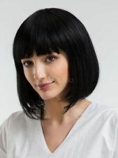 100% Human Hair Charming Black Hair Women Layered Blunt Fringe Bob Hair Wigs Wig