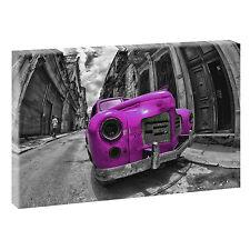 Kuba Oldi  sw/ pink Bild auf Leinwand Keilrahmen Poster XXL 120 cm*80 cm 516
