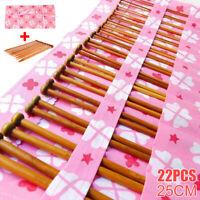 22pcs Bamboo Knitting Needles Set Weaving Needle Case UK Sizes 11 9 8 7 6 5 4
