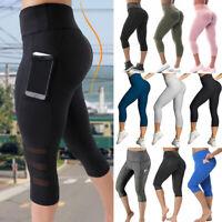 Women Ruched Capri Leggings Yoga Pants Anti Cellulite Sports Scrunch Trousers AM
