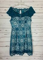 Liza Luxe ModCloth Women's L Large Teal Blue Lace Cute Party Dress NEW With TAGS