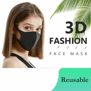 3pc Breathable Surgical Mask Washable Black Reusable Face Mouth Protection UK