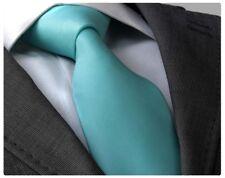 AQUA BLUE FINE RIB SILK TIE - ITALIAN DESIGNER Milano Exclusive