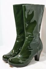 CHIE MIHARA SHOES GREEN PATENT LEATHER MID CALF PLATFORM BOOTS ROUND TOE 8