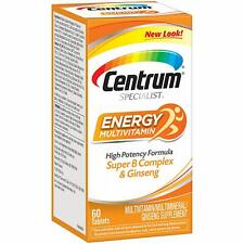 Centrum Specialist ENERGY MULTIVITAMIN 60-Tablet Super B Complex & Ginseng ADULT