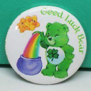 "Care Bears Good Luck Bear 1.5"" Metal Pin Back Button 2001 Vintage Retro Art"
