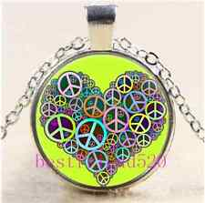 Cool Peace Love Heart Cabochon Glass Tibet Silver Chain Pendant Necklace