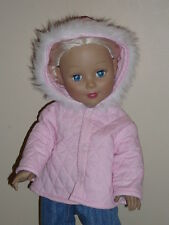 """Pink Quilted Winter Coat for 18"""" Doll Clothes Grace American Girl"""