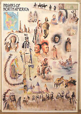 (PRL) 1993 INDIANI INDIANS AMERICA NAVAJO APACHE VINTAGE AFFICHE PRINT POSTER