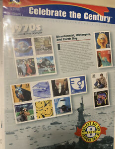 Vintage Postage Stamps Celebrate the Century 1970s Stamp Sheet 15-33 cent stamps