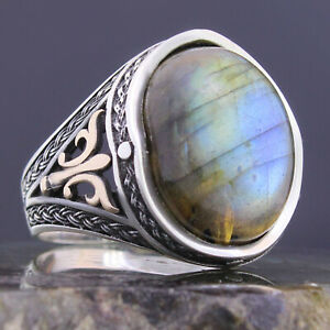 Solid 925 Sterling Silver Natural Oval Labradorite Stone Men's Ring