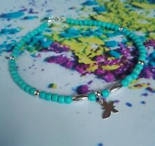ANKLET blue TURQUOISE 925 Sterling Silver Summer Ankle Bracelet Butterfly charm