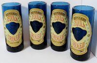 Set 4 Embossed Reposado Tequila Corralejo Cobalt Blue Glass Shot Glasses Shooter