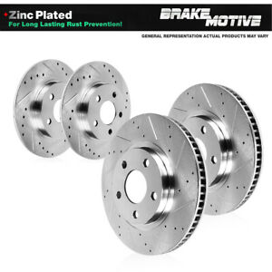For 2006 - 2011 Buick Lucerne Cadillac DTS Front & Rear Drill Slot Brake Rotors