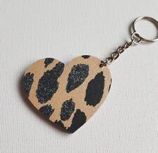 Handmade Wooden Heart Keyring Keychain Funky Sparkly Leopard Print