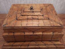Antique prison TRAMP ART match box avec cache un secret