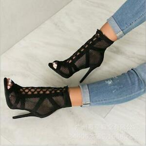 Gladiator Women Sandal Peep Toe Stiletto Heels Ankle Boots Mesh Party Pump Shoes