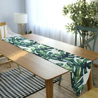 Cotton Linen Table Runner Green Palm Leaf Tablecloth for Hawaii Tropical Party
