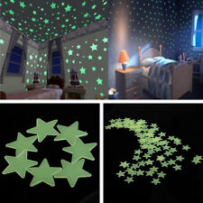 100Pcs Glow In The Dark Stars Shape Stickers for Home Ceiling Wall Bedroom Decor