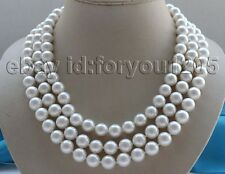 "18-19-20"" Natural 10mm White Round Shell Pearl Necklace cameo clasp #f2885!"