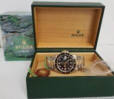 18k Gold Steel Rolex GMT Master II 16713 Gilt Dial w Box Tags Mens