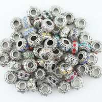 Czech Crystal Tibetan Silver Rondelle Big Hole Charm Beads for European Bracelet