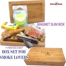 WOODEN BOX SET PUFF Smoking Storage Rolling Rizla Papers Raw Tips Grinder GIFT