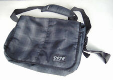 Dakine Laptop Messenger Bag Black Gray Plaid Shoulder Strap Blue Interior