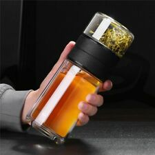 Glass Water Bottle Tea Filter Strainer Double Wall Portable Travel Coffee Bottle