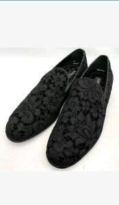 MEN'S Dolce & Gabbana Black Lace&VELVET Loafers Shoes UK8 EU42 US9 BNWB RRP €745