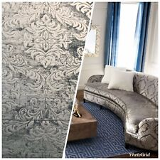 NEW Double Sided Burnout Chenille Velvet Fabric- Gray Upholstery Damask