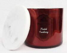 Bath & Body Works FROSTED CRANBERRY Large 3-Wick Candle 14.5 oz MARBLE LID RARE